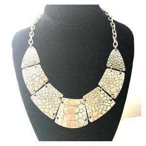 Silver costume jewelry statement necklace